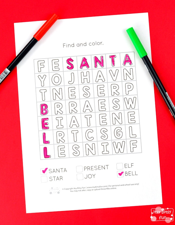 free christmas find and color word search for kids