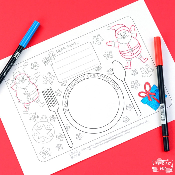 Free Printable Christmas Placemats for Kids