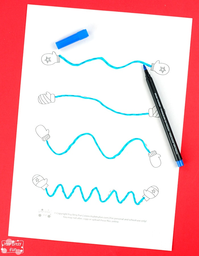 Winter Tracing Worksheets For Kids - Itsybitsyfun.com