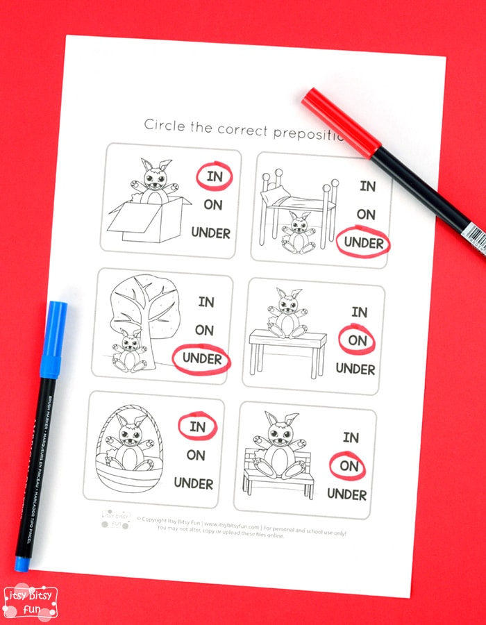 Prepositions In On Under Worksheets for Kids