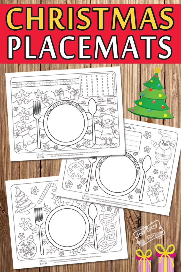 photograph regarding Printable Placemats for Preschoolers named Printable Xmas Placemats - Itsy Bitsy Enjoyment