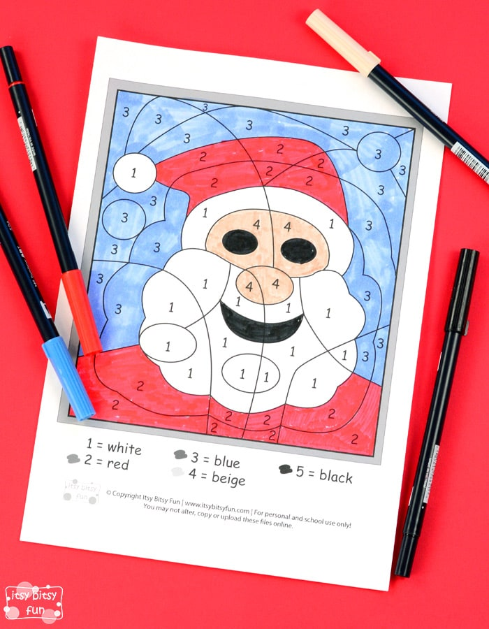 Santa Color by Numbers Free Worksheet for Kids