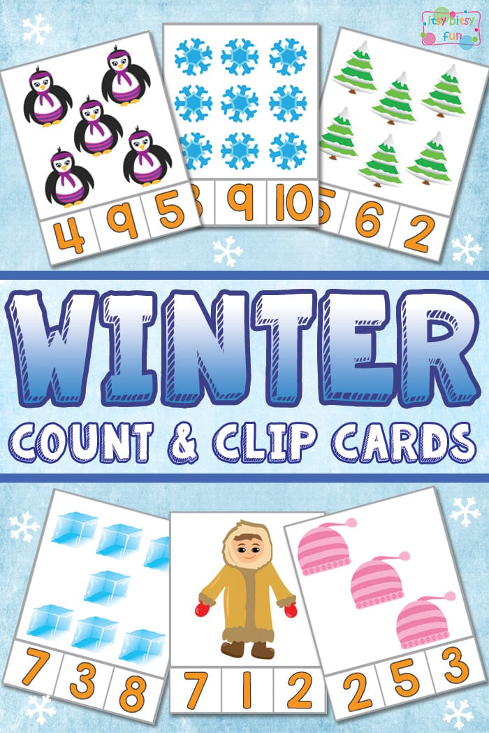 Winter Count and Clip Card Free Printables