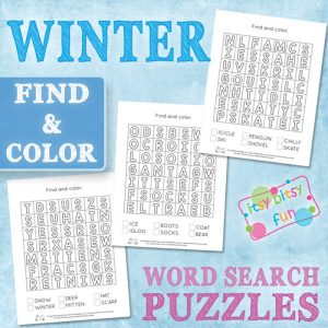 Winter Themed Find and Color Word Search Puzzles