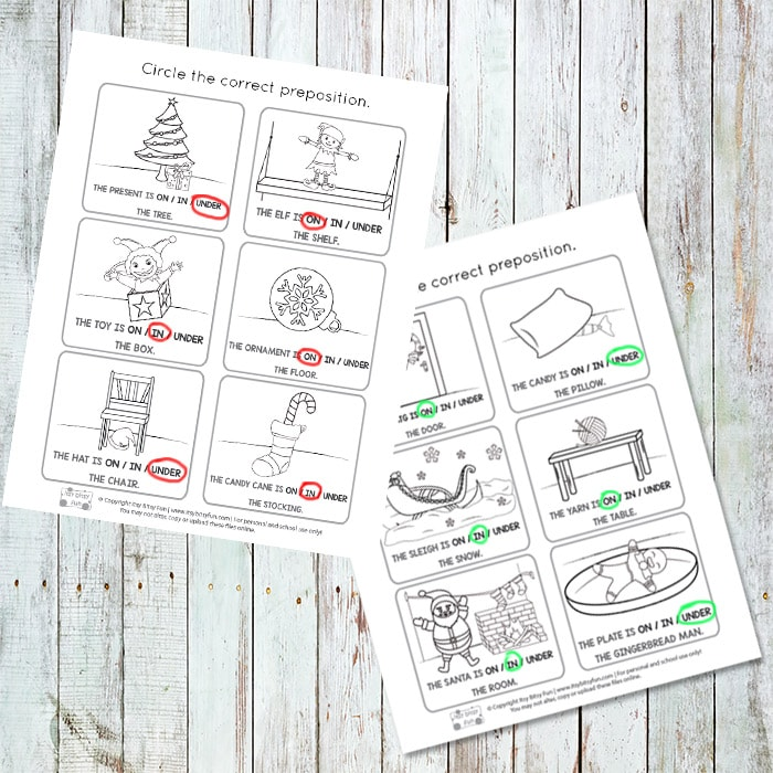 Xmas Prepositions of Place Worksheets