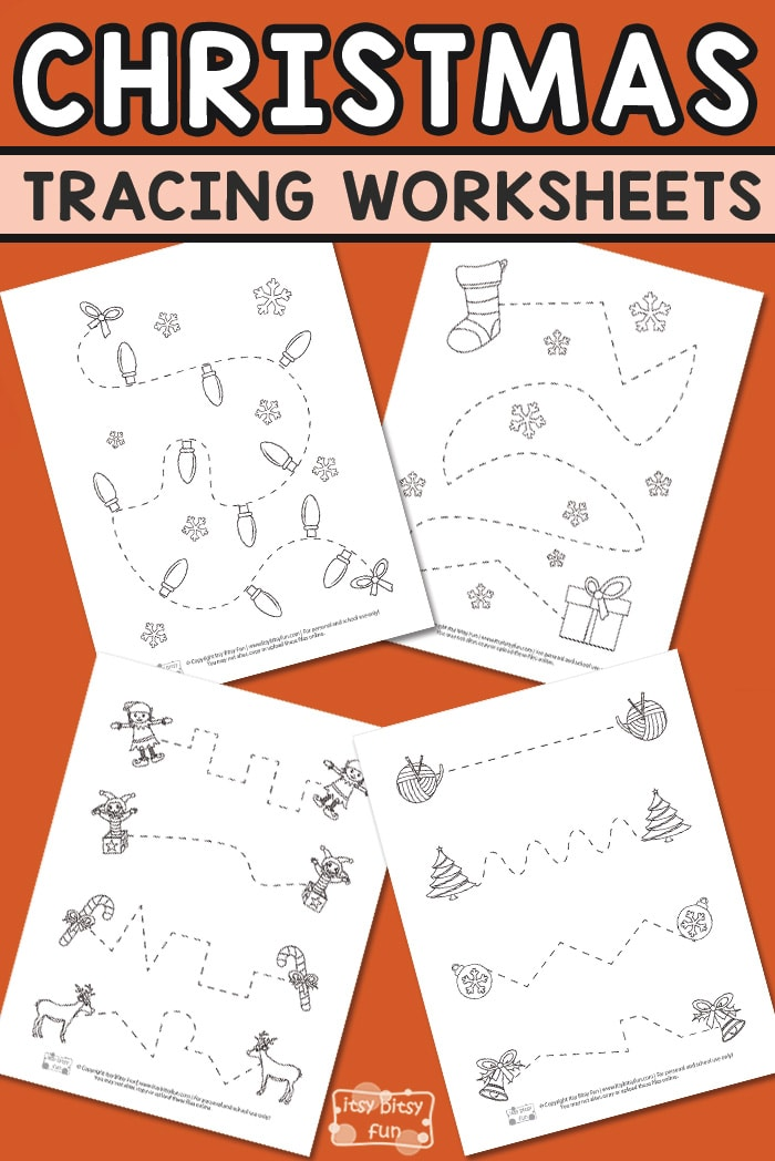 Free Printable Christmas Tracing Worksheets for Kids #Christmasprintablesforkids #freeworksheetsforkids #tracingworksheets