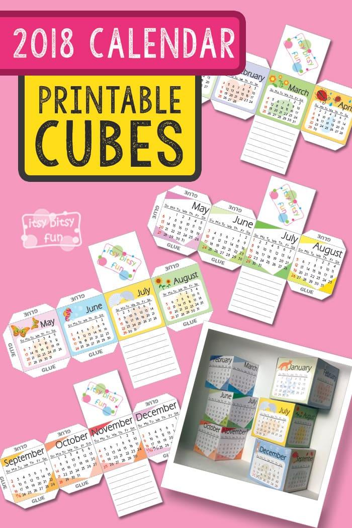 Printable 2018 Calendar Paper Cubes Itsy Bitsy Fun