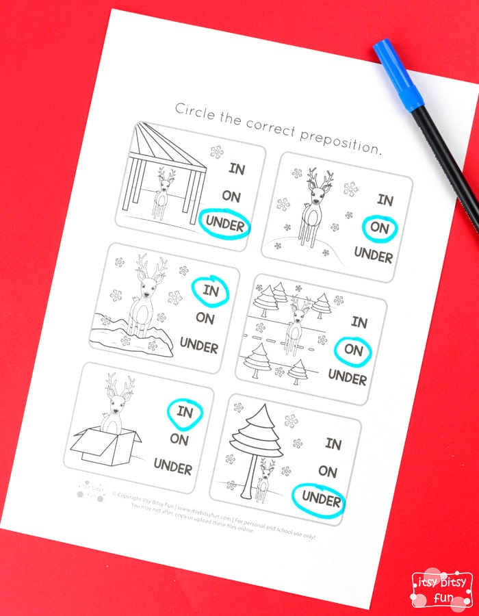 Christmas Preposition In On Under of Place Free Printable Worksheets for Kids