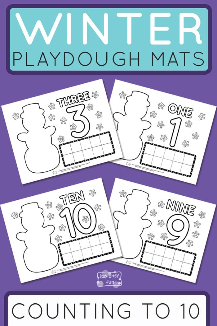 Free Printable Winter Playdough Mats Counting to 10