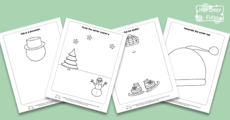 Drawing Lines Of Symmetry Free Worksheets : Winter drawing prompts for kids itsy bitsy fun