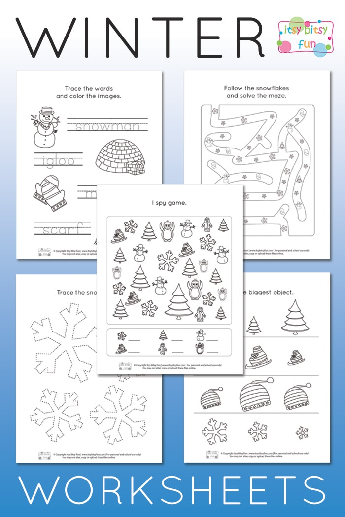 winter worksheets for kindergarten  itsy bitsy fun free printable winter worksheets for kindergarten and prek