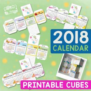 Printable Calendar 2018 Cubes