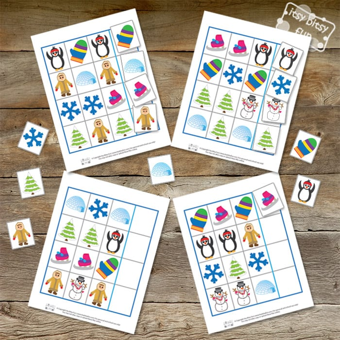 Printable Worksheets pattern recognition worksheets : Winter Pattern Recognition File Folder Game - Itsy Bitsy Fun