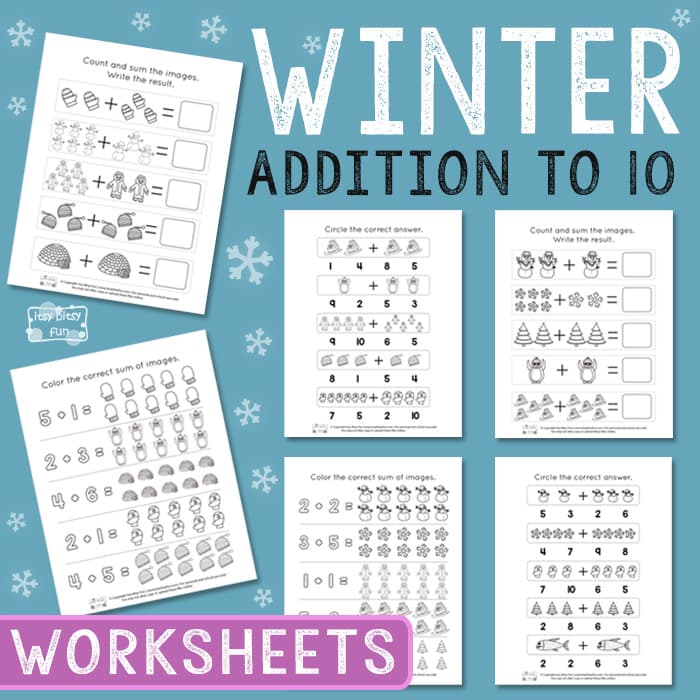 Winter Addition to 10 Worksheets