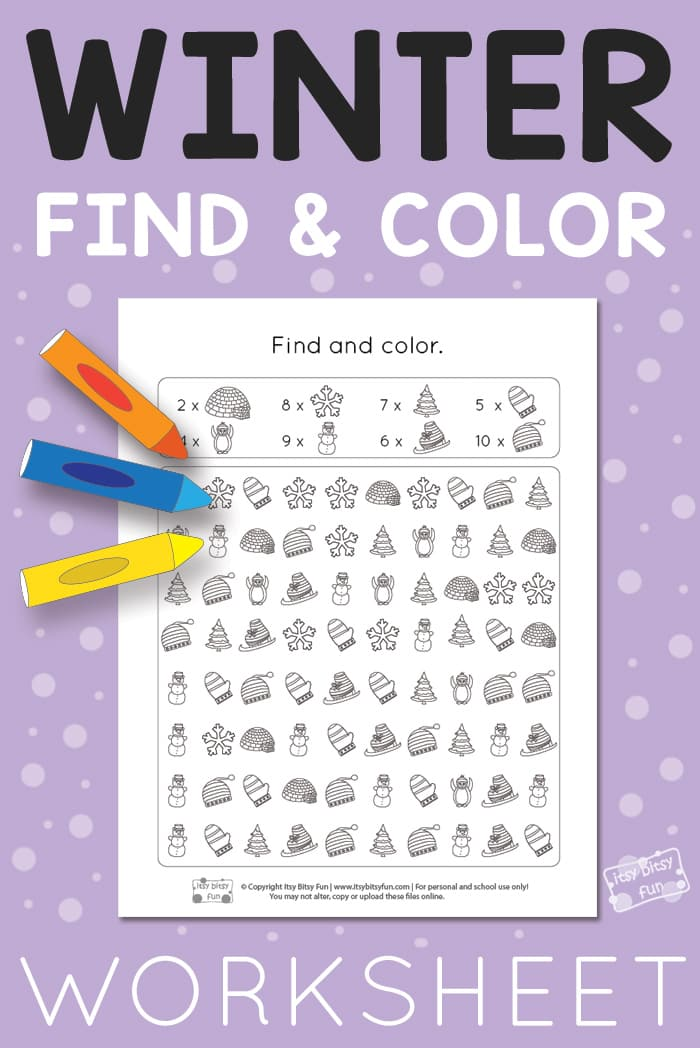 Free Printable Winter Find and Color Worksheet for Kids