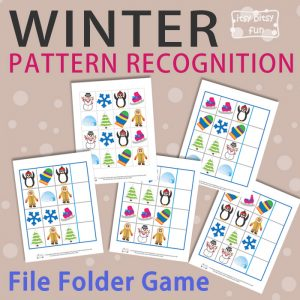 Winter Pattern Recognition File Folder Game