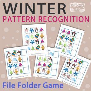 Winter Pattern Recognition File Folder Game