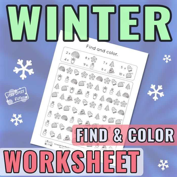 Winter Seek and Color Worksheet