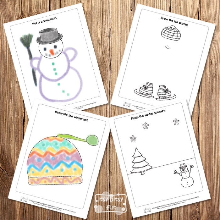 Winter Themed Drawing Prompts - Worksheets