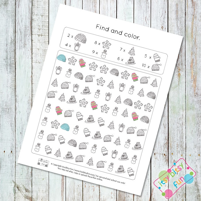Winter Themed Searching and Coloring Worksheet