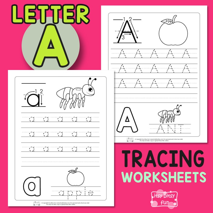 Letter A Tracing Wroksheets