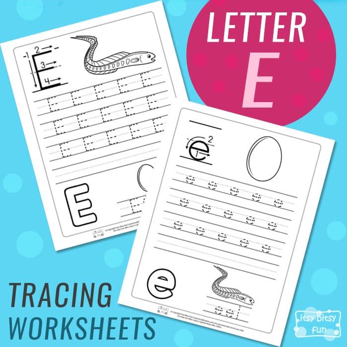 Letter E Tracing Wroksheets