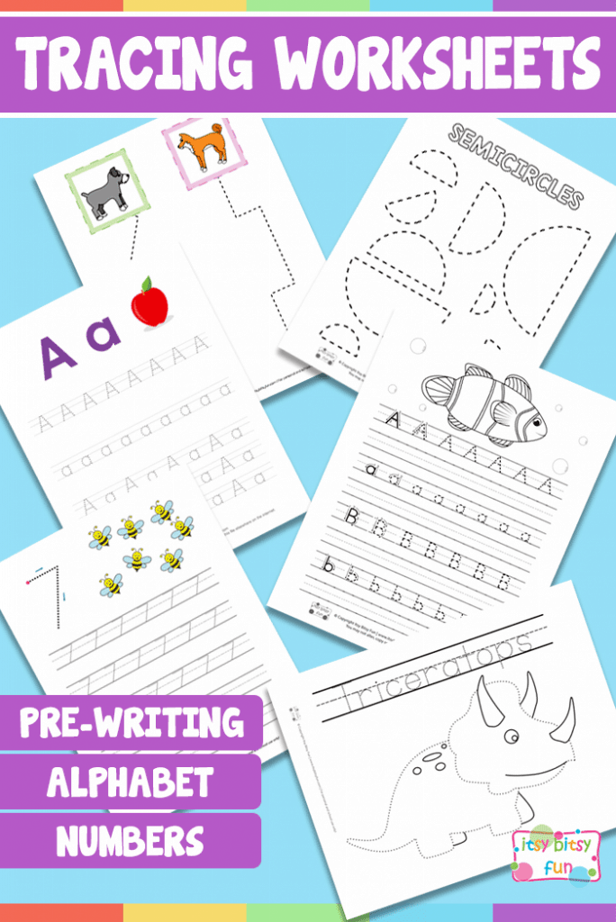 Lots of Tracing Worksheets for Kids - Pre-writing practice, alphabet, numbers and more