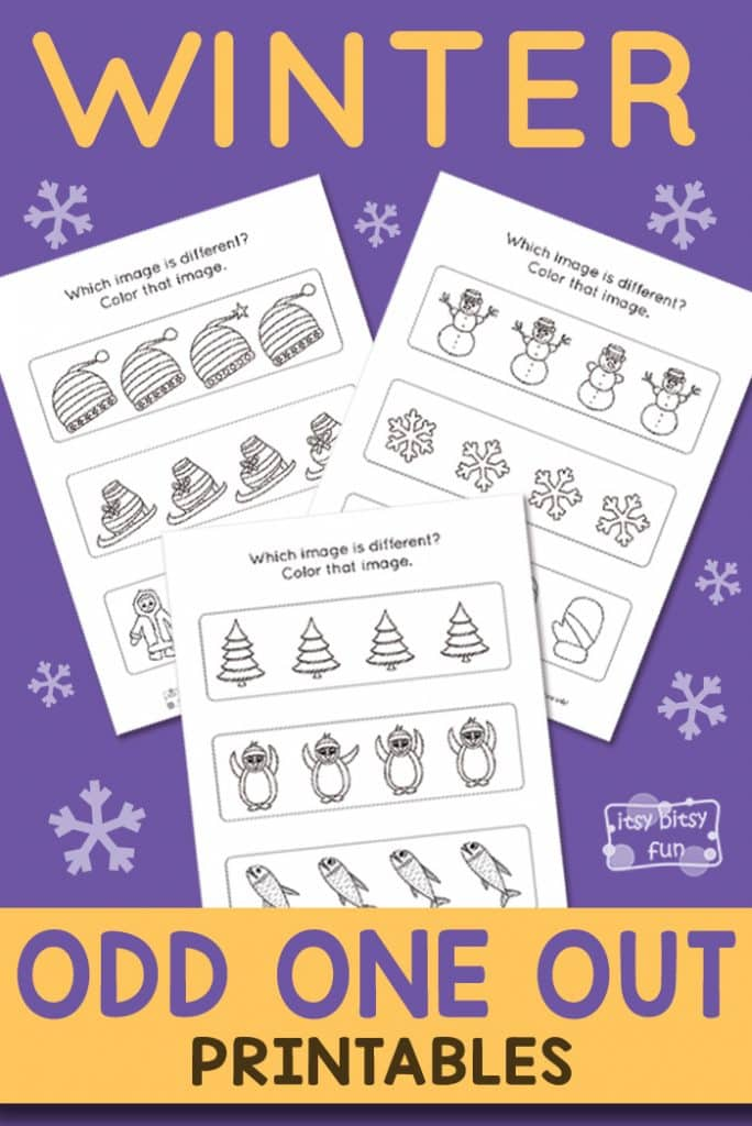 Free Printable Winter Odd One Out Worksheet
