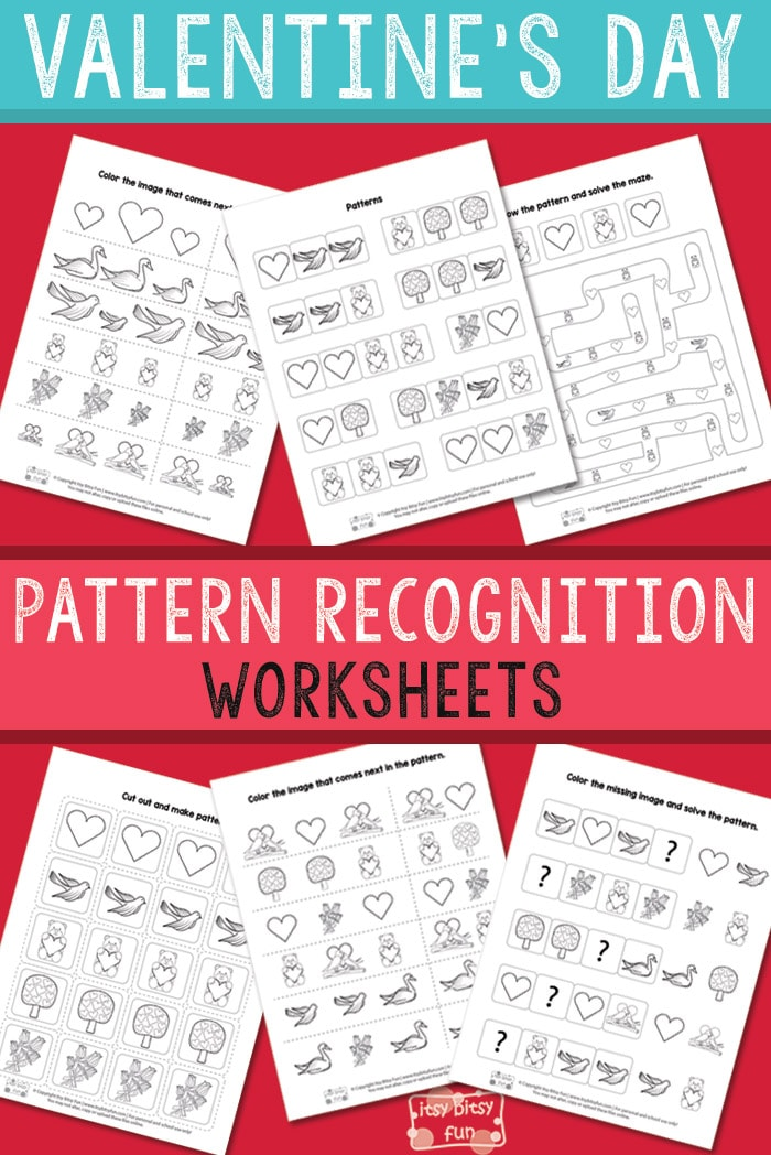 Printable Worksheets pattern recognition worksheets : Valentine's Day Pattern Recognition Worksheets - Itsy Bitsy Fun