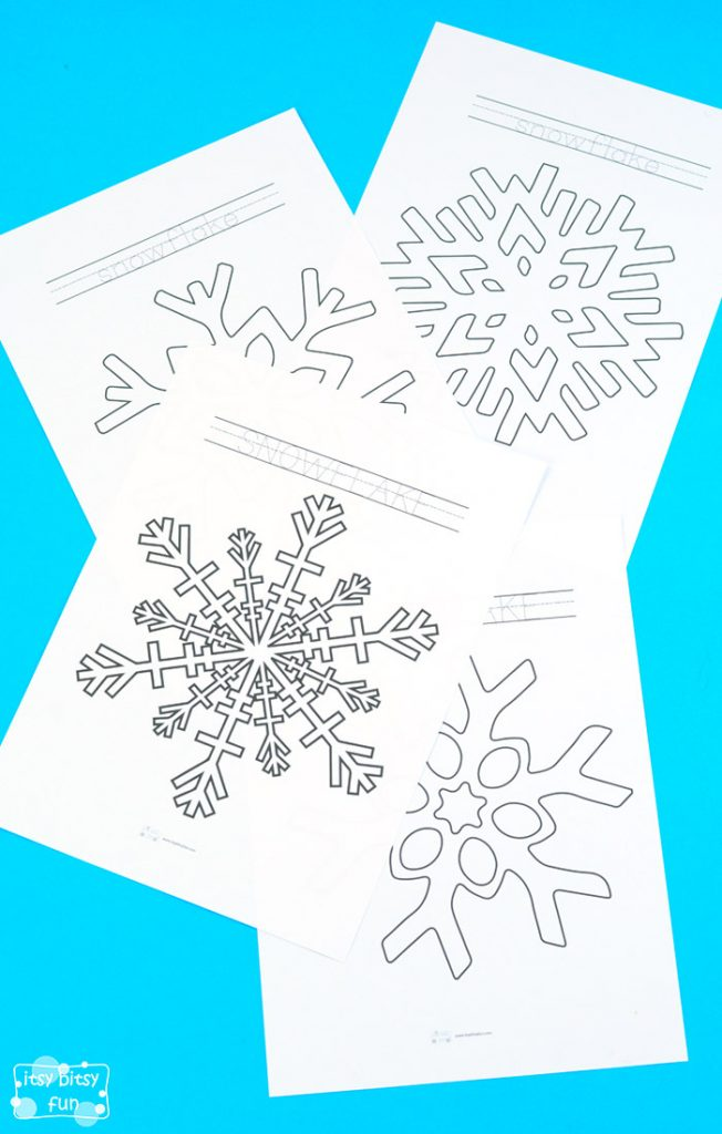 Snowflake Coloring Pages and Tracing Practice for Kids