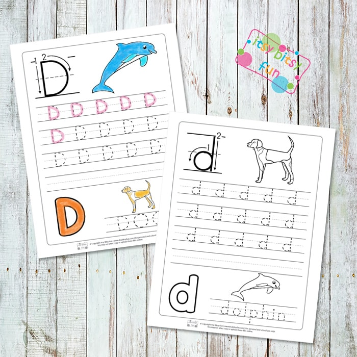 Letter D Tracing Worksheets Itsy Bitsy Fun