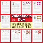 Tracing Numbers to 10 - Valentines Day Worksheets