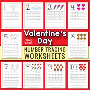 Valentine's Day Number Tracing Worksheets