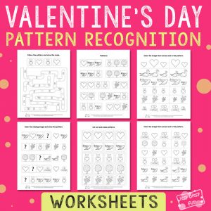 Valentines Day Pattern Recognition Worksheets