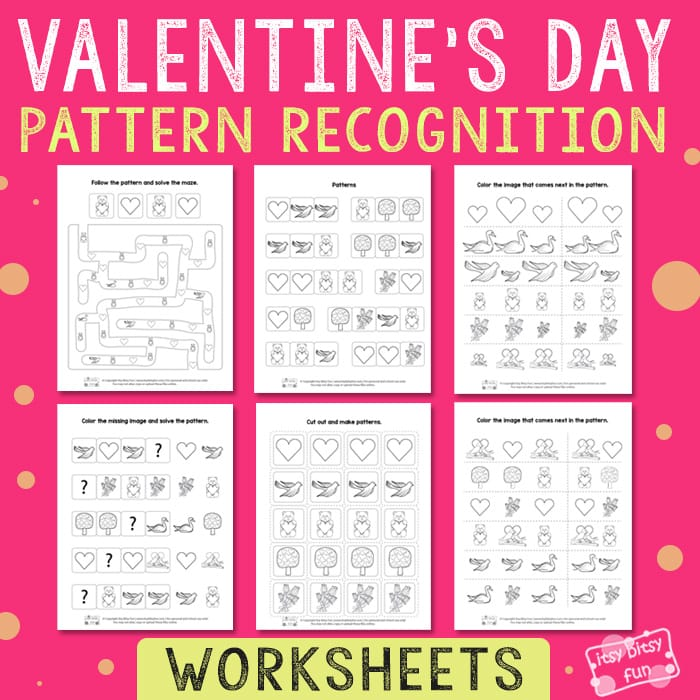 Printable Worksheets pattern recognition worksheets : Valentines Day Pattern Recognition Worksheets - Itsy Bitsy Fun