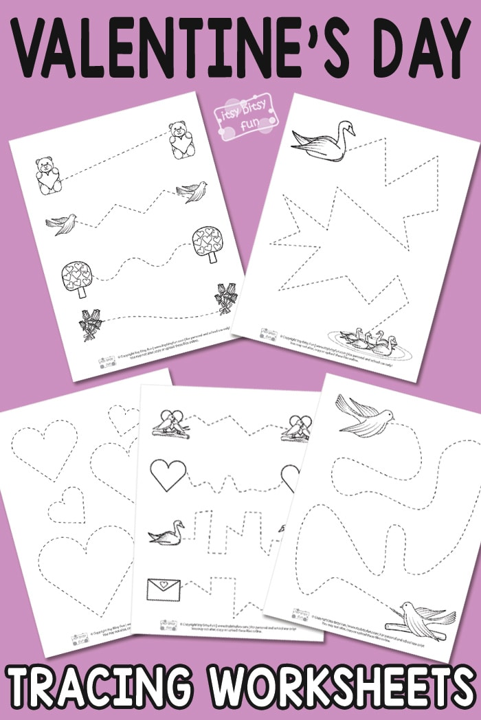 Valentine's Day Tracing Printables for Kids #freeprintablesforkids #Valentinesdayprintablesforkids #tracingworksheets