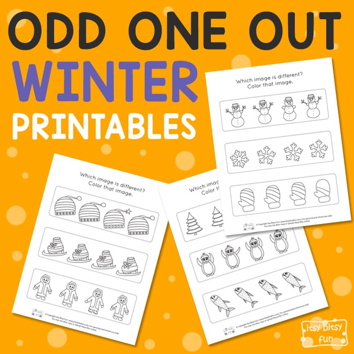 Winter Odd One Out Worksheet for Kids
