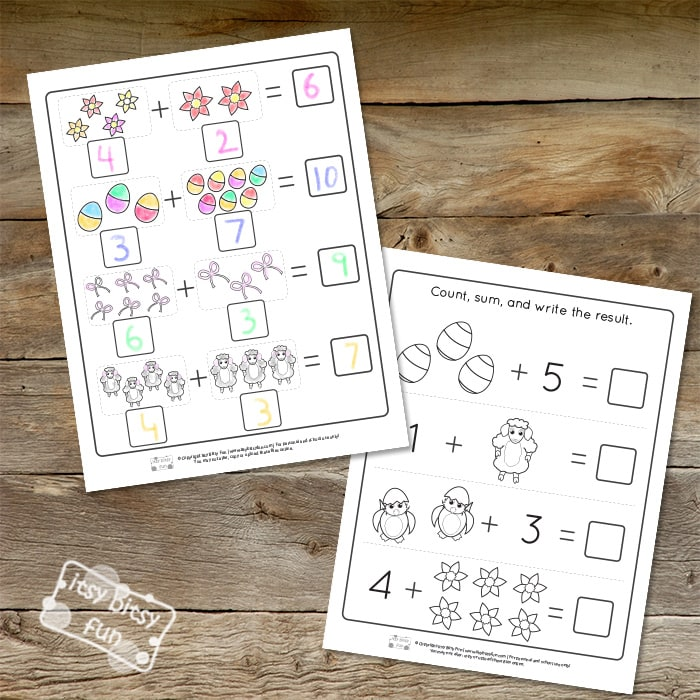 Easter Addition Kindergarten Worksheets