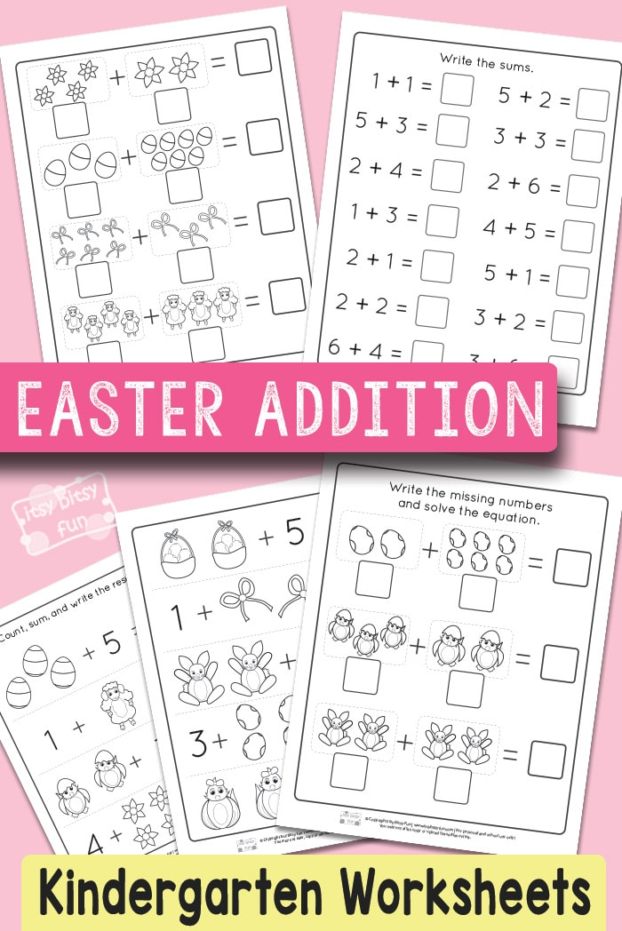 Easter Kindergarten Addition Worksheets #mathworksheets #kindergartenworksheets #freeprintables