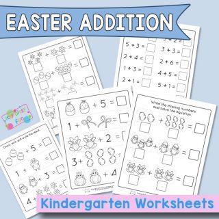 Easter Addition to Ten - Kindergarten Worksheets