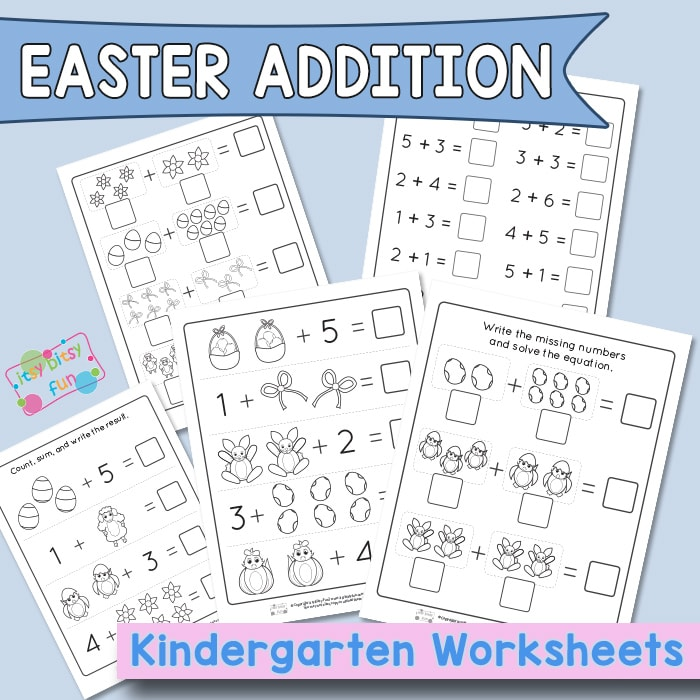 Easter Addition to Ten - Kindergarten Worksheets