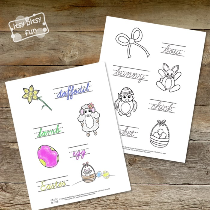 Easter Cursive Handwriting Worksheets