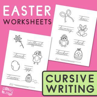 Easter Cursive Tracing Worksheets