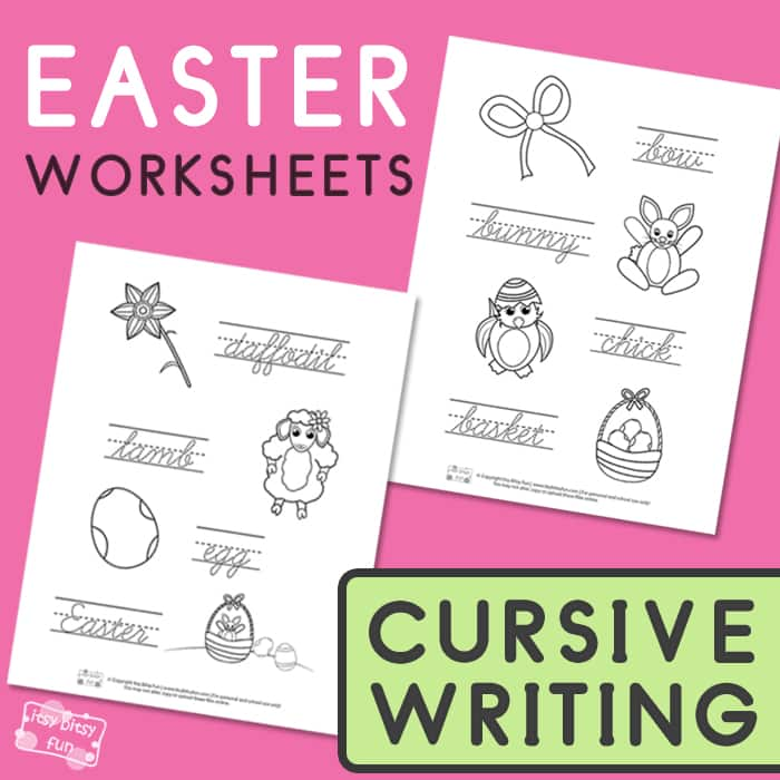 Easter Cursive Tracing Worksheets