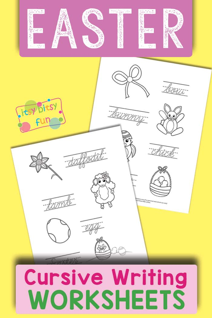 Free Printable Easter Cursive Handwriting Worksheets for Kids #handwritingworksheets #worksheetsforkids #writingworksheets