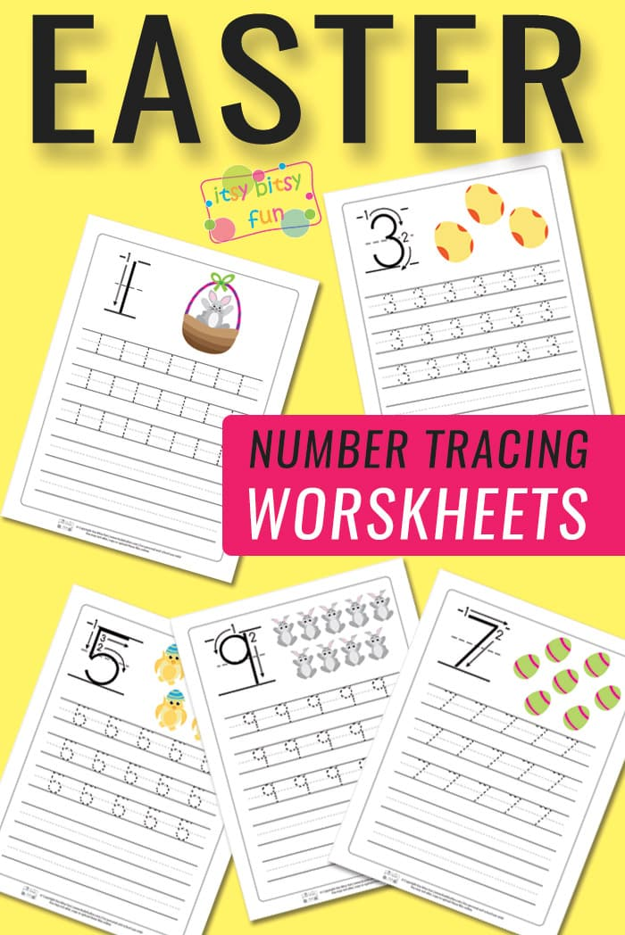 Easter Number Tracing Worksheets from 1 to 10