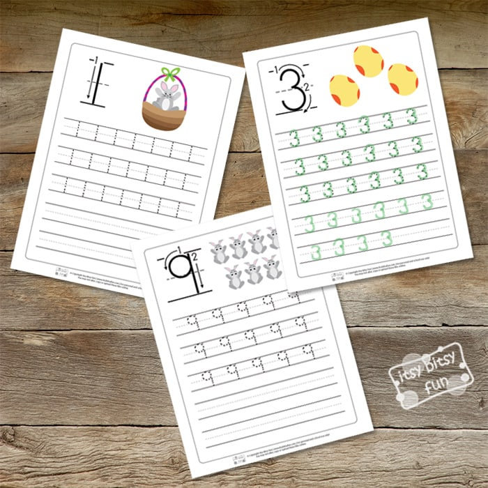 Easter Number Tracing Worksheets