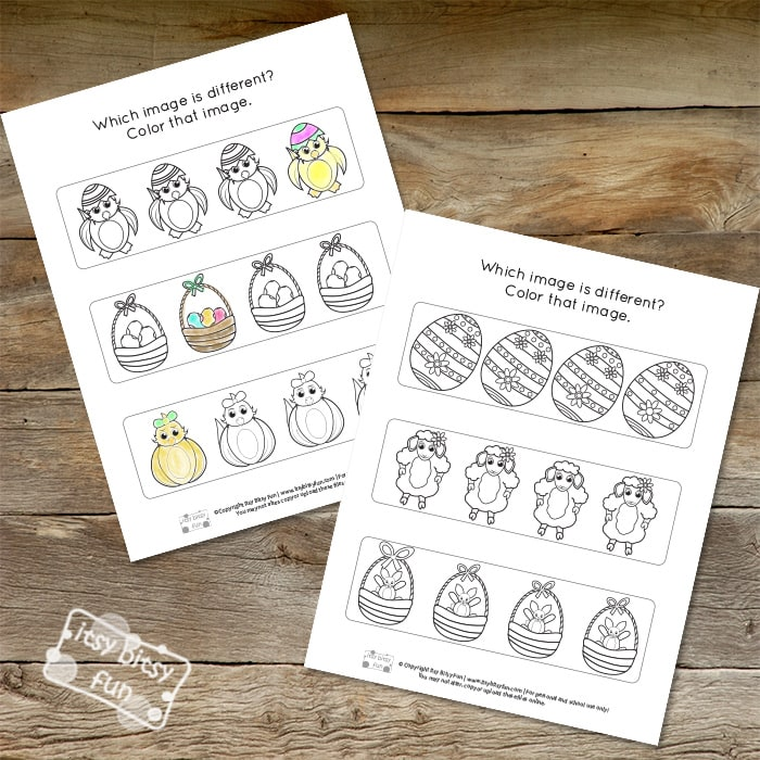 Easter Odd One Out Worksheets