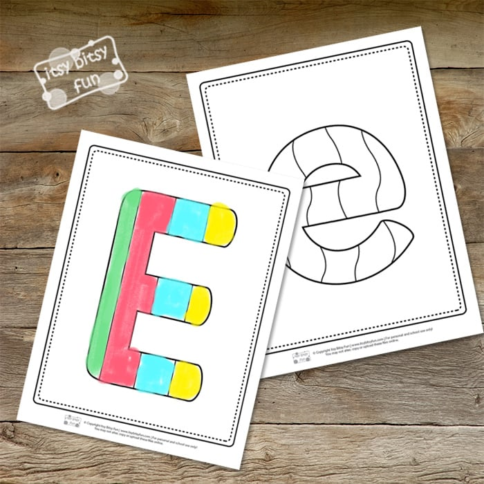 Letter E Pages for Coloring