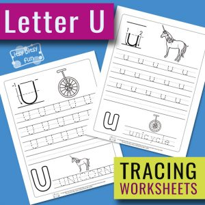 Letter U Tracing Worksheets